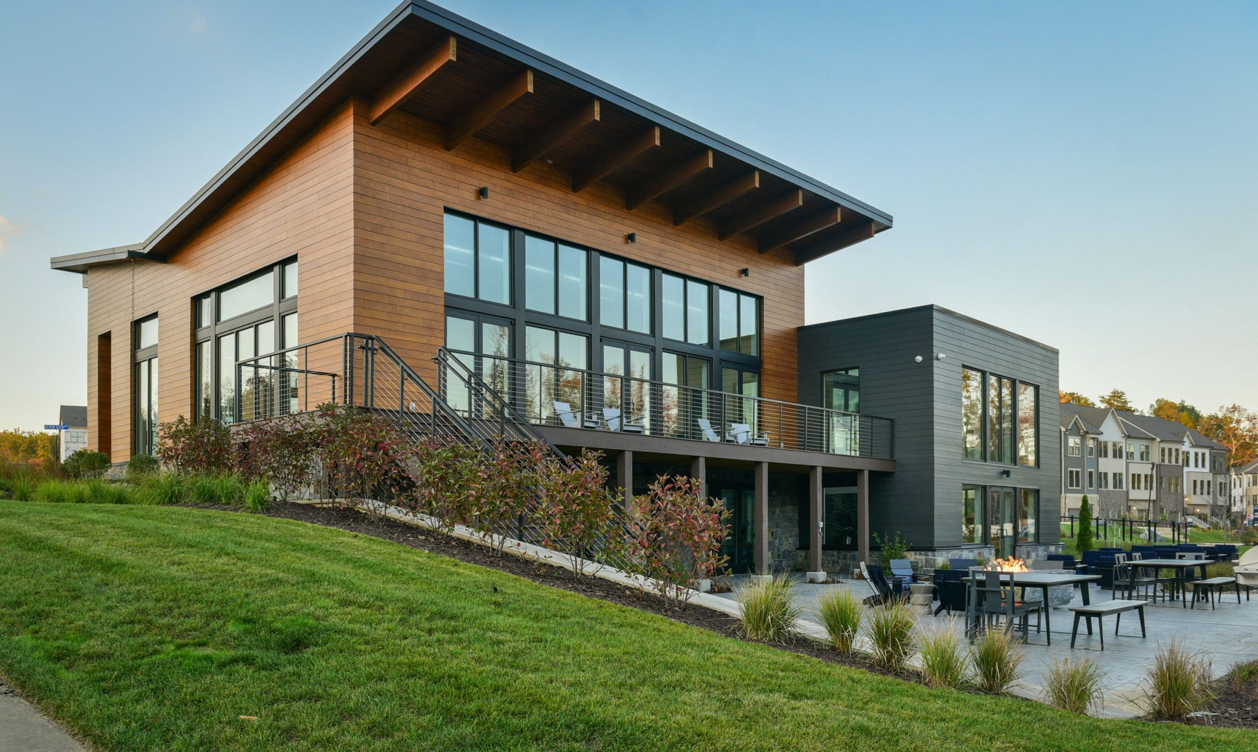 community clubhouse with scenic setting in Watershed's community of new townhomes